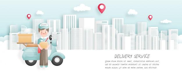 Online bestellen en bezorgen met bezorger en scooter. papier gesneden stijl. illustratie.