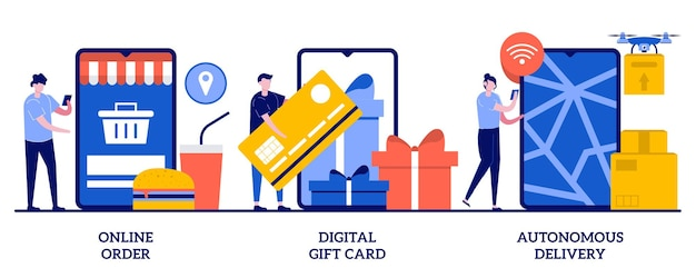 Online bestelling, digitale cadeaubon, autonoom leveringsconcept met illustratie van kleine mensen