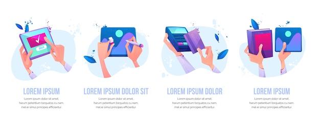 Online bestelling, grafisch ontwerp schilderen, kaart betalen