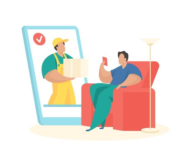 Online bestelling met snelle levering mannelijk karakter doet aankoop op smartphone