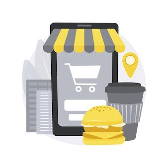 Online bestelling. online eten bestellen, digitaal restaurantmenu, thuis eten-app, geen bezorgservice voor menselijk contact, goederen kopen op internet.