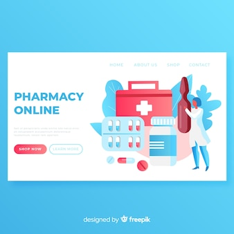 Online bestemmingspagina sjabloon voor apotheken