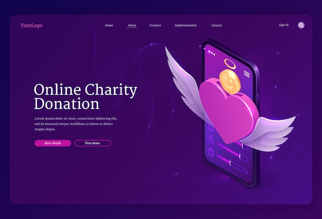 Online bestemmingspagina voor liefdadigheidsdonatie