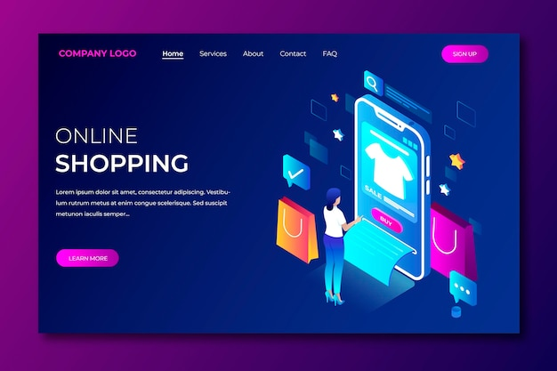 Online bestemmingspagina winkelen in isometrische stijl