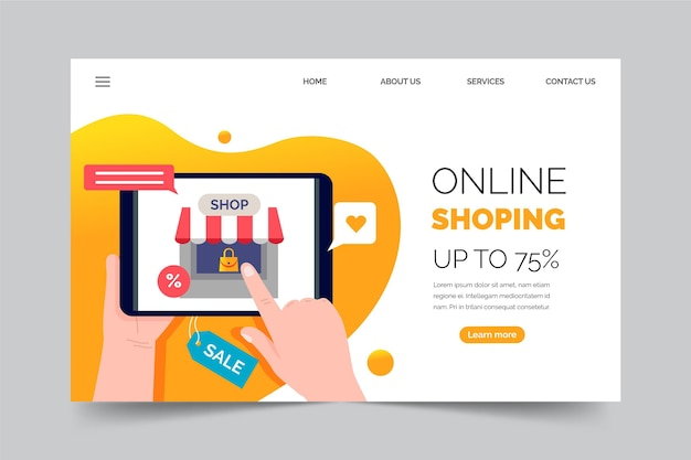 Online bestemmingspagina winkelen