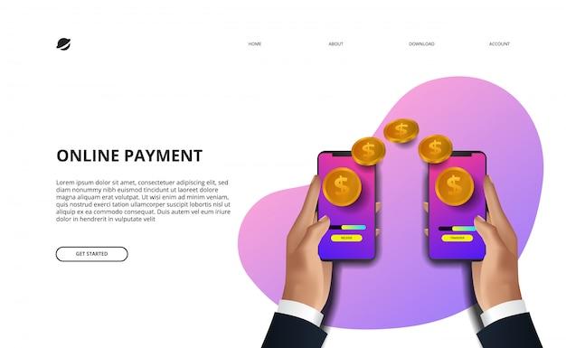 Online betaling bestemmingspagina illustratie zakelijke financiën e commerce concept