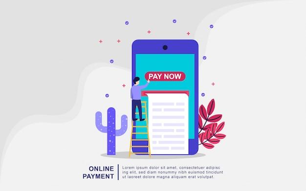 Online betaling concept vectorillustratie. mobiel betalen of geld overmaken concept. e-commerce markt winkelen online illustratie met kleine mensen karakter.