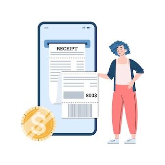 Online betaling en e-facturering online kassabon plat geïsoleerd