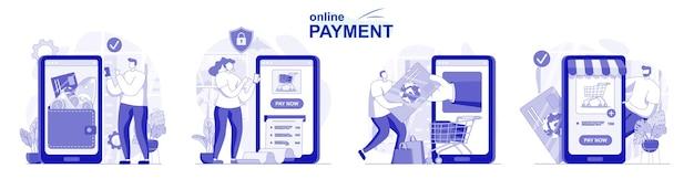 Online betaling geïsoleerde set in plat ontwerp mensen die banktransacties doen met behulp van applicaties