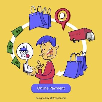 Online betaling, gele achtergrond