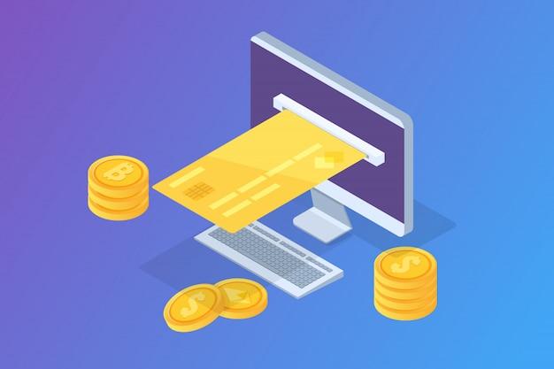 Online betaling isometrisch concept met kassabon. mobiele portemonnee. vector illustratie