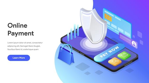 Online betaling isometrisch concept voor bestemmingspagina, startpagina, website