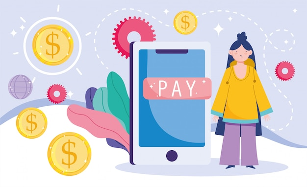 Online betaling, meisjesgeldgeldmunten, e-commerce markt winkelen, mobiele app