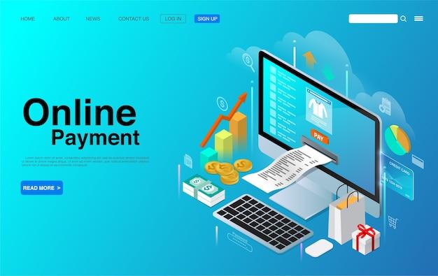 Online betaling met computer desktop isometrische concept