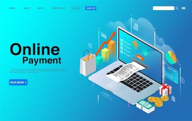 Online betaling met laptop isometrisch concept