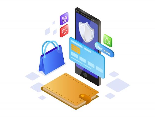 Online betaling met mobiele telefoon isometrisch