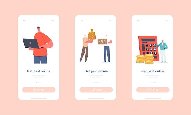 Online betaling mobiele app-pagina onboard-schermsjabloon. tekens die contant betalen met behulp van kaarten in internetwinkels, moderne technologieën en contant betalend concept. cartoon mensen vectorillustratie