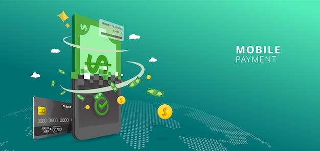 Online betaling online concept. internetbetalingen, mobiele overschrijving op wereldkaartachtergrond, online bankillustratie