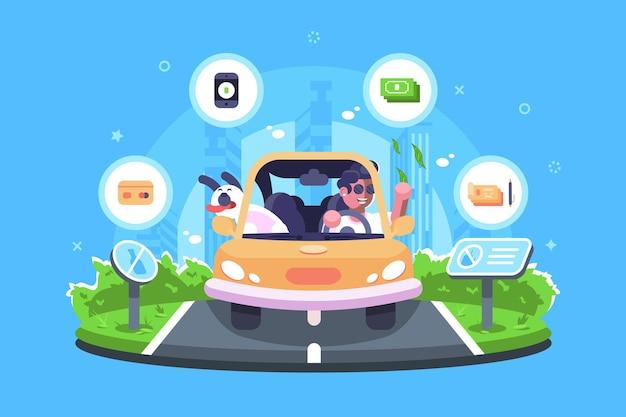 Online betaling op de reisillustratie. jongen die met hond reist en betalingen verricht