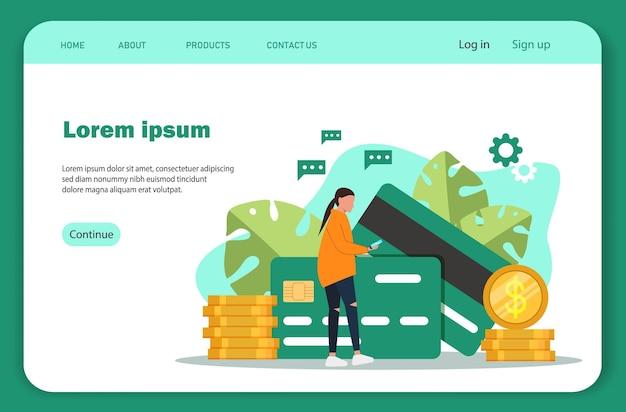 Online betalingen. landingspagina-sjabloon van cryptocurrency-uitwisseling.