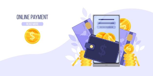 Online betalings- of internetportefeuillepagina met smartphone, financiële app, bankpas, munten, dollars.