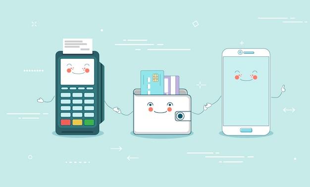 Online betalingsconcept in lijnstijl