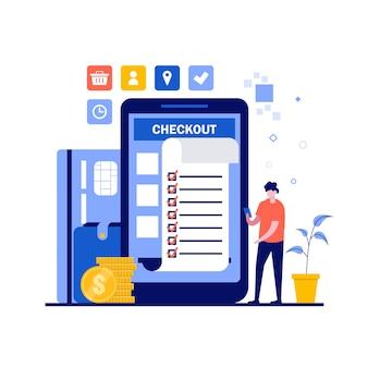Online betalingsconcept met karakter, papieren factuur, creditcard.