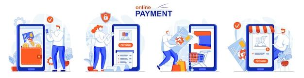 Online betalingsconcept set financiële transacties boekhouding betalen voor aankopen