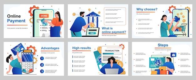 Online betalingsconcept voor presentatiediasjabloon mensen betalen voor aankopen