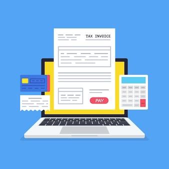 Online betalingsdienst. belastingformulier op het laptopscherm met een betaalknop. internetbankieren concept. online betalen, boekhouden, boekhouden.