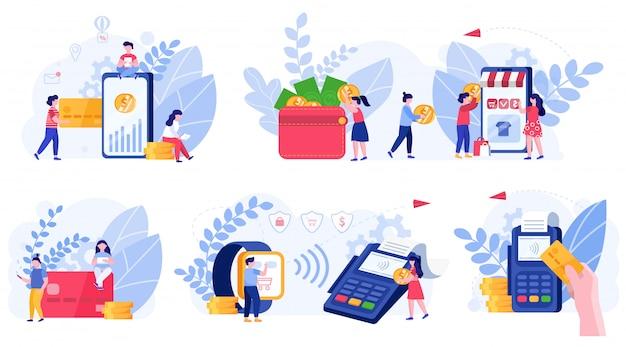 Online betalingsmethoden en mensenconcept, illustratie