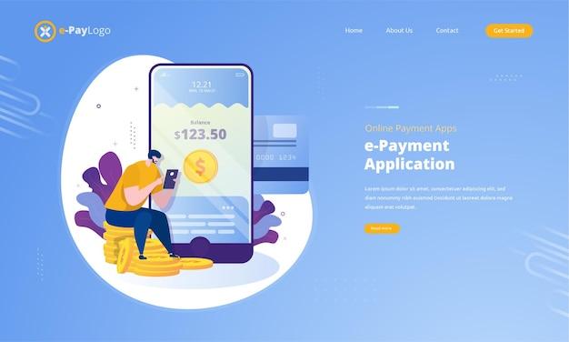 Online betalingstoepassing illustratie op bestemmingspagina concept
