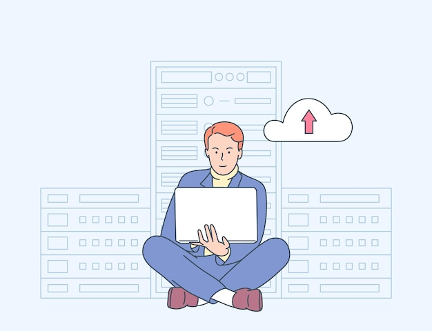 Online beveiliging, gegevensbescherming, antivirussoftware, cloudhostingconcept. jonge man it-beheerder werkt in de serverruimte voor diagnostische hardware.