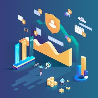 Online beveiliging, veilig surfen op internet. gegevensbeschermingsconcept. isometrische illustratie voor bestemmingspagina, webdesign, banner en presentatie.