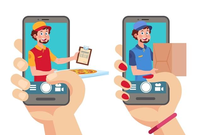 Online bezorg-app. man met pakket en pizza op zoek vanaf smartphone. mobiele logistieke service, bestel voedsel vectorconcept. illustratie expresbestelling, bezorgpizza