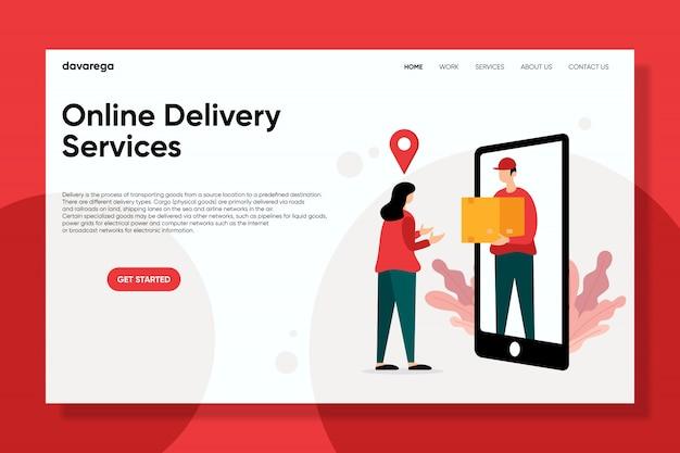 Online bezorgdiensten bestemmingspagina platte ontwerpen