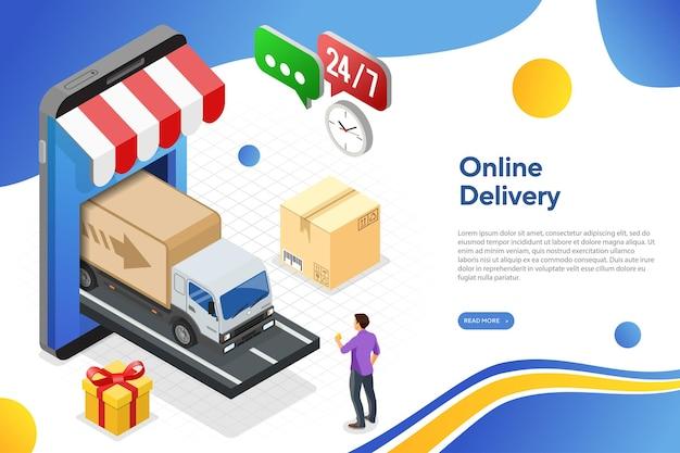 Online bezorgen met smartphone en vrachtwagen