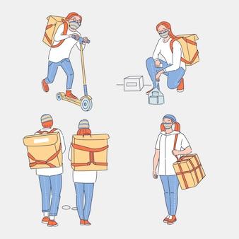 Online bezorgservice cartoon overzicht illustratie. mensen met beschermende gezichtsmaskers die goederen en voedsel naar klanten vervoeren. contactloze levering tijdens de uitbraak van coronavirus covid-19.