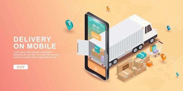 Online bezorgservice concept, online order tracking, levering thuis en op kantoor. e-commerce. service volgen. verzending per vrachtwagen. wereldwijde online navigatie.