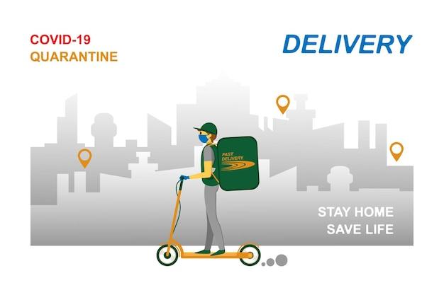 Online bezorgservice, het volgen van bestellingen, levering aan huis en op kantoor. een koerier met een ademmasker en handschoenen levert de goederen af op een scooter. vectorillustratie van een pandemie van het coronavirus. quarantaine