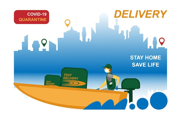 Online bezorgservice, het volgen van bestellingen, levering aan huis en op kantoor. een koerier met een ademmasker en handschoenen levert de goederen op een boot. vectorillustratie van een pandemie van het coronavirus. quarantaine