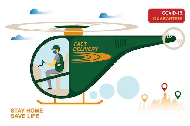 Online bezorgservice, het volgen van bestellingen, levering aan huis en op kantoor. een koerier met een ademmasker en handschoenen levert de goederen op een helikopter. vectorillustratie van een pandemie van het coronavirus. quarantaine
