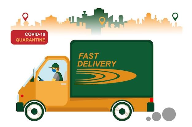 Online bezorgservice, het volgen van bestellingen, levering aan huis en op kantoor. een koerier met een ademmasker en handschoenen levert de goederen op een vrachtwagen. vectorillustratie van een pandemie van het coronavirus. quarantaine