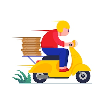Online bezorgserviceconcept bezorger op een rode scooterillustratie