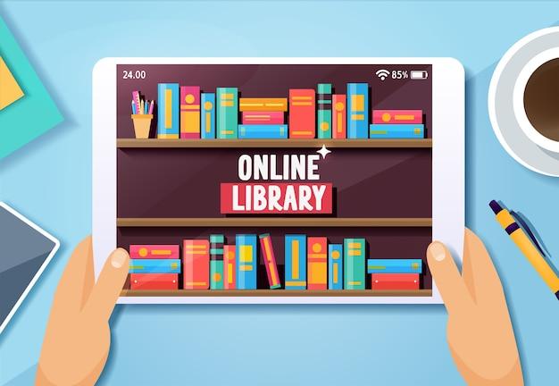 Online bibliotheek-app voor het lezen van illustratieconcept