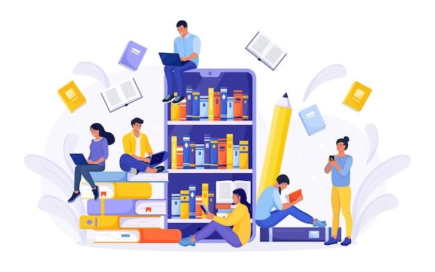 Online bibliotheek, boekhandels, ebook. internetonderwijs. mensen lezen boeken. smartphone met reader-app voor het lezen en downloaden van boeken, audioboeken