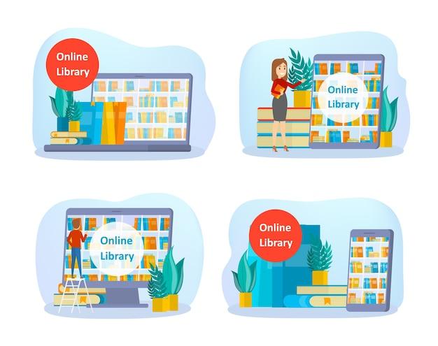 Online bibliotheek concept set. gebruik van mobiele telefoon en computer voor leren en onderwijs. mensen lezen digitale boeken op hun smartphones. flat vector illustratie