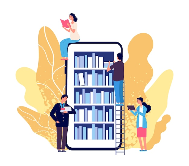 Online bibliotheek. mensen die boeken lezen. smartphone met reader-app. online boekwinkel, bibliotheek en onderwijs plat concept. illustratie onderwijsboek-app, digitale boekenplank voor studenten