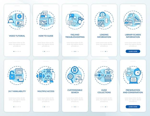 Online bibliotheek onboarding mobiele app-paginascherm met concepten
