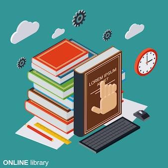 Online bibliotheek, onderwijs plat isometrisch concept